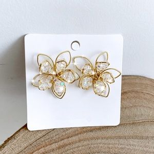Jewelry - Gold Wire/Iridescent Bead 3D Flower Stud Earrings